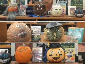 Pumpkins decorated as book characters