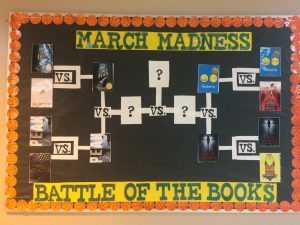 A march madness battle of the books bulletin board.